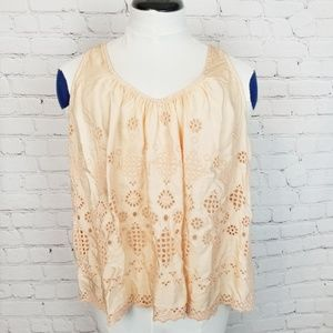Anthropologie|Vanessa Virginia Peach Eyelet Tank